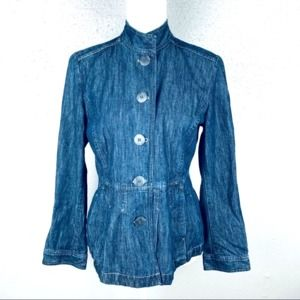 J. Jill Button Up Mock Neck Flare Jeans Jacket 6